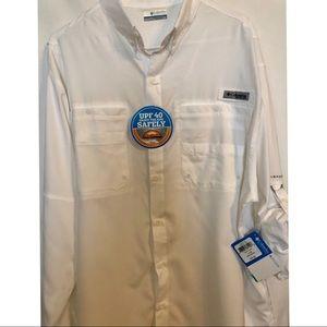 Columbia men's button down white UPF 40